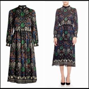 """Sandro """"Grassette Folk-Print Midi Dress"""""""